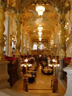 How grand! I'll sit here for hours with a tall glass of iced tea, a hearty salad and maybe Hungarian Goulash. CAFE NEW YORK, BUDAPEST.