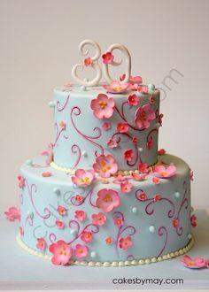Cake Art / Birthday Flower cake on imgfave Gorgeous Cakes, Pretty Cakes, Cute Cakes, Amazing Cakes, Girly Cakes, Fancy Cakes, Blue Birthday Cakes, Art Birthday, Bolo Cake