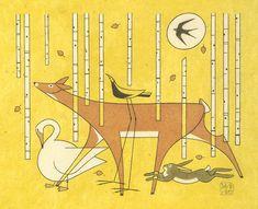 'birch tree parade' by david hile Birch, David, Fine Art, Visual Arts