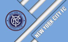 Download wallpapers New York City FC, material design, 4k, logo, blue white abstraction, MLS, football, New York, USA, Major League Soccer