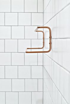 Ikea Hjalmaren towel rail sprayed copper.