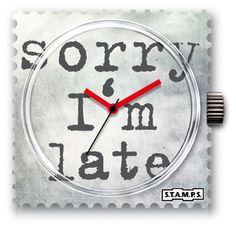 Stamps nu ook voor mannen: de hippe horloges in de vorm van een postzegel. Stel zelf je horloge samen uit de vele verschillende soorten uurwerken en bandjes. Afmetingen 4.5 x 4.5 cm. Dit uurwerk is een waterdichte versie van de gewone Stamps. Stamp, Bracelets, Clock, Watches, Design, Shopping, Accessories, Watch, Wristwatches