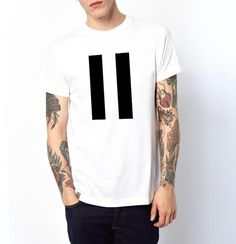 Men's Tshirt Pause Symbol White Black Minimal by AptakisicTee, $20.00