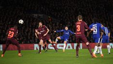 Eden Hazard of Chelsea fires a shot just over the bar during the UEFA Champions League Round of 16 First Leg match between Chelsea FC and FC Barcelona at Stamford Bridge on February 20, 2018 in London, United Kingdom.