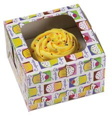 Cupcake Box for 1 cupcake with cupcake design.  These are prefect for presenting individual cakes as gifts.  The pack contains 3 boxes with a window and an insert to hold 1 cake safely in place.  Box size - 90mm x 90mm x 80mm  Qty - 3 Boxes