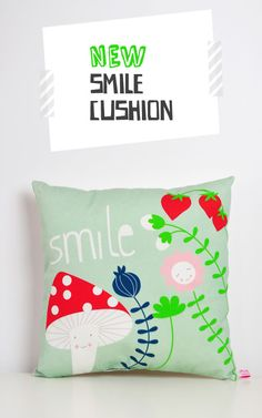 A cool cushion to decorate a kids or nursery room into a more nature, organic and happy kind of style! It's a happy garden with smiley faces :)