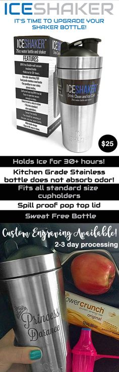 Does not absorb odor! Holds ice for 30+ hours.  Custom Engraving available, order today!  Top rated stainless steel vacuum insulated protein mixing cup.  If you are serious about your health, then you need an Ice Shaker bottle.  Use it for water, protein shakers, smoothies, coffee, ice tea, BCAAs, martinis, cocktails, and everything else you drink!