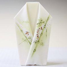 han-eli 手描き半襟 「竹雀」 絹100%