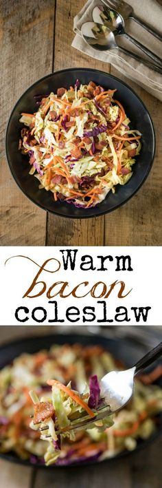 Warm bacon coleslaw is a quick and easy side dish that will perfectly accompany just about any dish and now that the cold weather is here, it is nice to serve a warm and comforting dish plus, there's bacon!