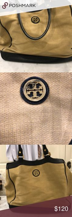 Tory Burch burlap tote. So fun! Maybe my favorite Tory Burch bag of all time. Super soft burlap type material with black leather detail, this large tote/shoulder bag has great inside pockets and awesome summer style!!! Some typical wear as shown. Tory Burch Bags Shoulder Bags