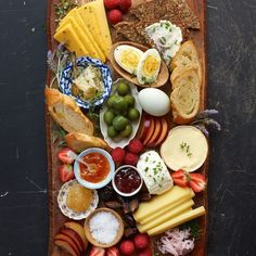A beautiful breakfast board with boiled eggs, crusty bread and salty cheese from Leela Cyd's new cookbook Food With Friends. It's really easy to whip up and would make a great spread for weekend guests! We have the whole recipe on cupofjo.com if you'd like to see...