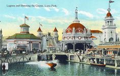 1903 New York, Coney Island. Luna Park's Shoot-the-Chutes. It was the only thing that Thompson and Dundy salvaged from Sea Lion Park. The ride was simple, a boat was hauled up to the top of the hill, turned around and then splashed down into the lagoon. Coney Island Amusement Park, Amusement Parks, Tunnel Of Love, Staten Island, Roller Coaster, East Coast, Disneyland, New York City, Taj Mahal