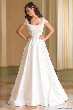 justin alexander bridal fall 2016 short sleeves scoop neck aline wedding dress (8861) mv romantic