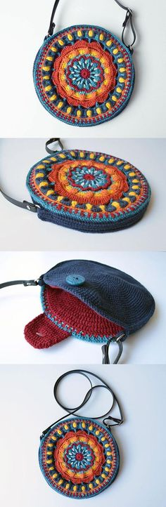 """My Hobby Is Crochet: Kaleidoscope Mandala Bag crochet pattern by Lilla Bjorn Crochet"", ""You will love our post that includes a lovely DIY Crochet Man Bag Crochet, Crochet Shell Stitch, Crochet Handbags, Crochet Purses, Love Crochet, Crochet Crafts, Crochet Clothes, Crochet Projects, Crochet Clutch"