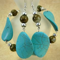 Turquoise and Rhyolite Bracelet and Earring Set, Silver, Blue, Green, Natural Stone Jewelry, One of a Kind, Handmade, OOAK, ArtsParadis by ArtsParadis on Etsy