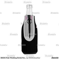 BRIDE Pink Wedding Bridal Party Be My Groomsman Bottle Cooler Burgundy Wedding, Blue Wedding, Pink Groomsmen, Blue Yellow Weddings, Be My Groomsman, Bridal Shower Party, Casual Wedding, 3 D, Bottle