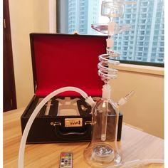 Più nuovo rotante narghilè vetro shisha con il sacchetto di cuoio twirl narghilè spirale shisha tubo di acqua a prova di led ligh telecomando enorme fumo