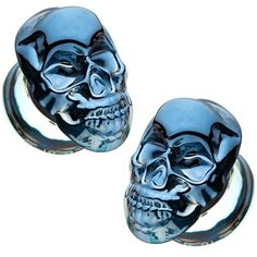 Double Flared Black Heart Glass Ear Plugs Clear Saddle Body Jewelry Piercing Sold As a Pair