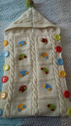 Crochet For Kids, Crochet Baby, Knit Crochet, Knitting Stitches, Baby Knitting, Baby Bunting, Sleeping Bag, Floral Embroidery, Gifts