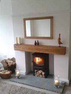 Celtic Timber Solid French Oak Beam Floating Shelf Mantle Piece Fire Place Surround Inglenook Beam Size: 6 x 6 Air Dried Length: 4 foot Finish: Planed & Sanded Appearance: Contemporary Home Living Room, Oak Fireplace, Oak Beam Fireplace, New Living Room, Log Burner Living Room, House Interior, Fireplace Shelves, Fireplace Beam, Cosy Living Room