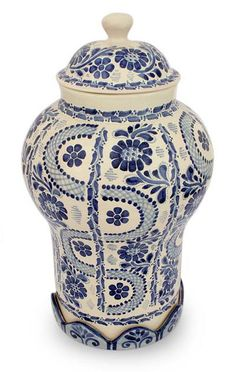Ceramic jar, 'Path to Puebla'  the birthplace of Mexico's Talavera Pottery This jar was created by a Master of colonial Majolica ceramics,Gorky Gonzalez who patterned the jar after a Chinese ginger jar