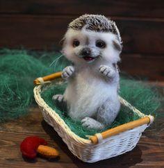 Figurines – ooak needle felted hedgehog toy gift animal – a unique product by Nataliya-Klimenko on DaWanda