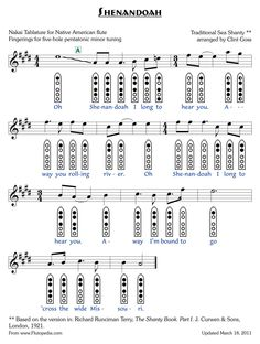 Shenandoah - Sheet Music for Native American Flute