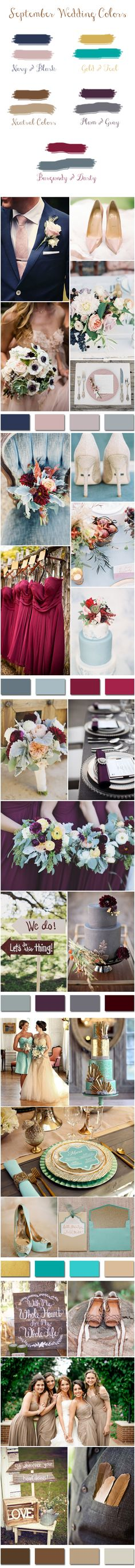 Top 5 Fall Wedding Colors for September Brides So maybe it doesnt have to be prison orange? lol october wedding colors schemes / fall wedding ideas colors october / fall wedding ideas november / fall winter wedding / fall colors for wedding September Wedding Colors, Best Wedding Colors, Wedding Color Schemes, Wedding Themes, September Flower, Wedding Ideas For September, September Colors, October Fall, April Wedding