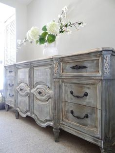 SOLD - Vintage Hand Painted French Provincial Cottage Chic Shabby Distressed Grey Dresser / Console Cabinet / Buffet #shabbychicdressersgrey