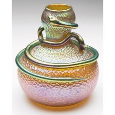 Loetz Figural vase, unusual form in textured gold glass with an applied serpent, overall iridescence