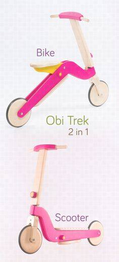 Marvelous idea: wooden bike and scooter for kids, all in one. Changeable in under 2 minutes.
