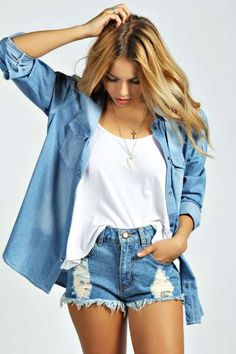 Alisa Mid Blue Wash Ripped Denim Hotpants at boohoo.com