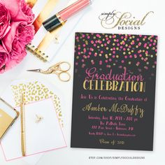 Glitter Glam Confetti Graduation Party Invitation Fifty and Fabulous PRINTABLE Grey Background and Hot Pink
