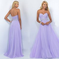 Custom Made Light Purple A Line Beading Chiffon Prom Dress,Backless Prom Dress,Floor Length Prom Dre on Luulla