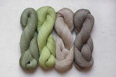 Set of 4 linen skeins grey green by YarnStories on Etsy