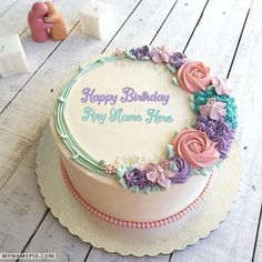The name [rehan] is generated on Romantic Colorful Roses Birthday Cake With Name… - Cake Decorating Writing Ideen Beautiful Birthday Cakes, Birthday Cake With Flowers, Beautiful Cakes, Colorful Birthday Cake, Friends Birthday Cake, Happy Birthday Cakes, Cake Birthday, Birthday Cake Write Name, Birthday Cake Designs