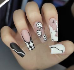 Acrylic Nails Coffin Pink, Halloween Acrylic Nails, Long Square Acrylic Nails, Simple Acrylic Nails, Halloween Nail Designs, Funky Nails, Dope Nails, Swag Nails, Hippie Nails