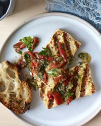 Grilled Tofu Steaks with Piquillo Salsa Verde