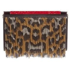Women's Christian Louboutin Vanite Metallic Leopard Leather Clutch ($2,450) ❤ liked on Polyvore featuring bags, handbags, clutches, metallic leather handbags, shopping bag, brown purse, metallic clutches and chain strap purse