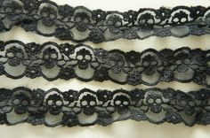 2 Yards Skull Lace Trim (30mm wide) Black