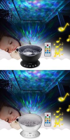 [Visit to Buy] LumiParty Ocean Wave Music Projector LED Night Light Soothing Wave Ceiling Lamp with Speaker and Remote control for Nursery Room #Advertisement