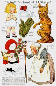 """Dolly Dingle's fairy tales-""""Little Red Riding Hood"""" by Grace G. Drayton- Dolly Dingle Paper Dolls"""