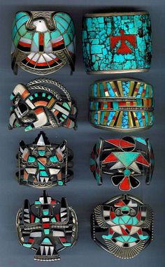 Native American Handmade Jewelry (this is INLAY Turquoise, Coral and Ebony & the Zuni were more than likely the makers of these INLAY Bracelets) Flynn Brislin Turquoise Accents, Turquoise Cuff, Turquoise Jewelry, Silver Jewelry, Navajo Jewelry, Vintage Turquoise, Aztec Jewelry, Aztec Rings, Turquoise Bracelet
