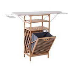 2 in 1 Bamboo Folding Corner Foldable Ironing Board And Laundry Hamper Center Storage Cabinet Organizer Unit With 2 Tier Shelves Clothes Hanger Iron Rest Household Essentials Large Storage Space  Lightweight alternative to traditional bulky ironing boards. Space-saving two-in-one design with eye-catching bamboo finish.  Attractive fabric foam padded ironing board.  Foldable ironing board hides away when not in use.  Includes metal clothes hanger and iron rest.  Ample storage space with...