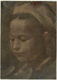 Domenico Beccafumi, Italian, 1484 - 1551 Head of a Woman, ca. 1529-1535 Brush and oil paint on brown laid paper 22.7 x 16.3 cm. (8 15/16 x 6...