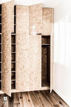 royal-roulotte_placard-in-osb - Home & DIY Osb Plywood, Diy Furniture, Furniture Design, Luxury Lighting, Lighting Design, Home Bedroom, Interior Inspiration, Decoration Inspiration, Small Spaces