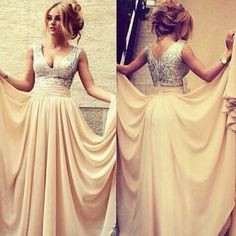 One of my favorites. I love the sequined top and then the plain peachy satin- They complement each over so well. Definitely considering a dress like this.