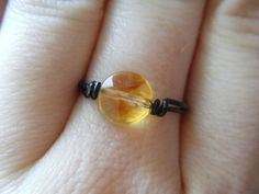 Citrine Ring  Wire Wrapped with Black Wire  Black by JbellsGems, $7.00
