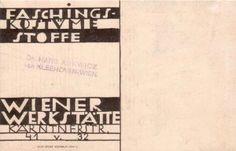 Postcard for carneval fashion of Wiener Werkstätte initialed. M.S. (back)