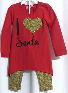 NEW Girls HAVENGIRL Red Christmas Tunic Top & Leopard Leggings Outfit 3 Orig…